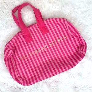 Victoria's Secret Striped Canvas Duffle Bag {JI}
